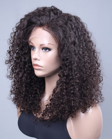 10mm Curl Swiss Lace Front Wigs 100% Premium Brazilian Virgin Hair