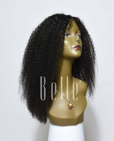 Afro Curl High Quality Malaysian Virgin Hair Silk Top Lace Front Wig For Black Women