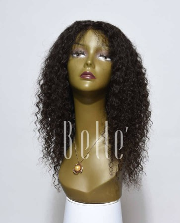 Deep Wave 100% Mongolian Virgin Hair Silk Top Lace Front Wig Invisible Knots