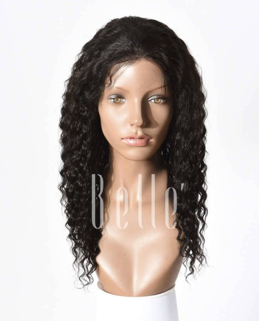 Deep Wave 100% Brazilian Virgin Hair Silk Top Full Lace Wig Invisible knots Natural Looking