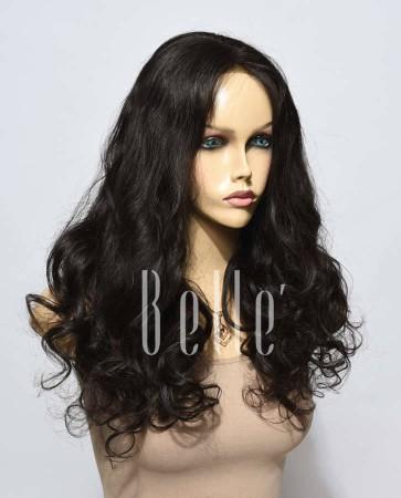 European Curly 100% Premium Human Hair Silk Top Lace Front Wig Malaysian Virgin Hair