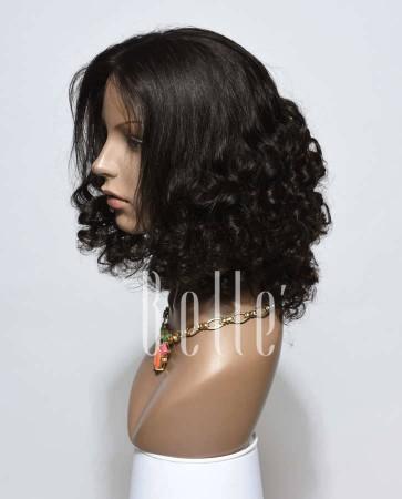 Premium Malaysian Virgin Hair Half Tight Spiral Curl Silk Top Full Lace Wig