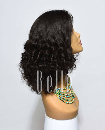 Best Mongolian Virgin Hair Half Tight Spiral Curl Lace Front Wig
