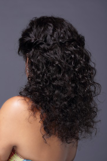 Natural Curl Top-quality Brazilian Virgin Hair Full Lace Wig