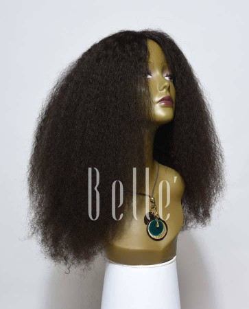 100% Real Human Hair Chinese Virgin Hair Afro Lace Front Wig Jeri Curl