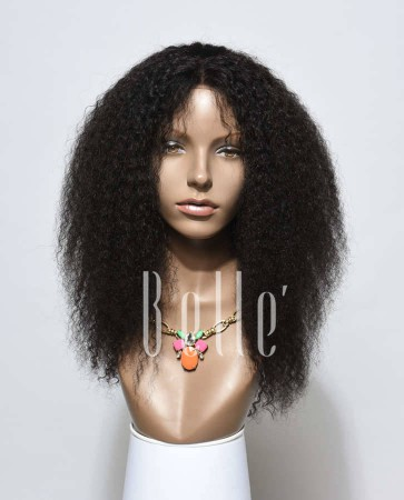 100% Real Human Hair Indian Remy Hair Afro Lace Front Wig Jeri Curl