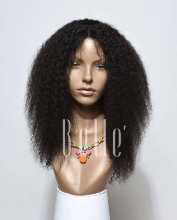 100% Natural Healthy Human Hair Malaysian Virgin Hair Afro Lace Front Wig Jeri Curl