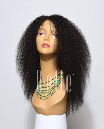 100% Real Human Hair Indian Virgin Hair Afro Silk Top Lace Front Wig Jeri Curl