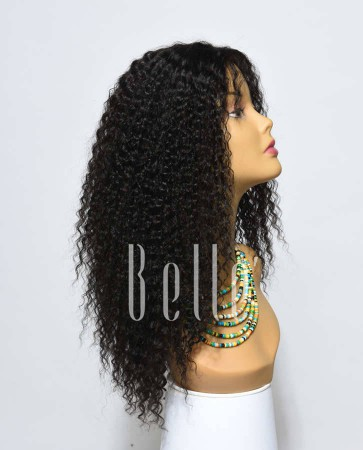 Kinky Curl 100% High Quality Human Hair Chinese Virgin Hair Silk Top Lace Front Wig