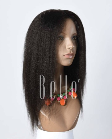 African American Kinky Straight 100% Premium Peruvian Virgin Hair Lace Front Wig