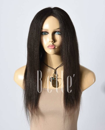 Kinky Straight African American Inspired Chinese Virgin Hair Silk Top Lace Front Wig