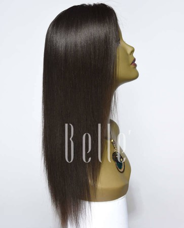Best Seller Light Yaki 100% Premium Mongolian Virgin Hair Silk Top Lace Front Wig
