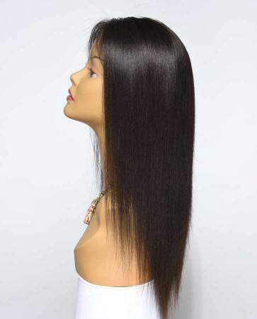Most Popular Light Yaki 100% Premium Peruvian Virgin Hair Silk Top Lace Front Wig