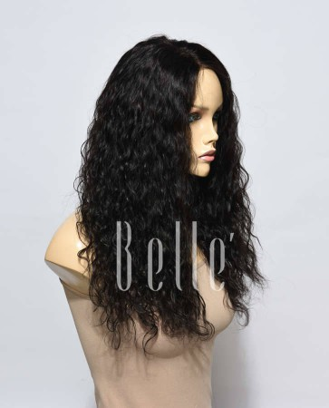 Natural Curl Top-quality Peruvian Virgin Hair Swiss Silk Top Lace Front Wig