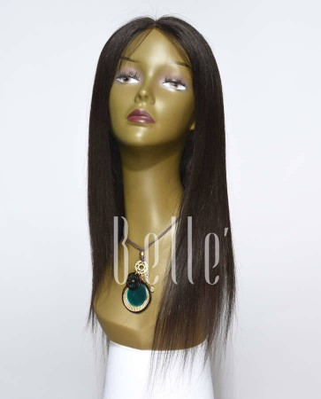 Silky Straight 100% Best Mongolian Virgin Hair Silk Top Lace Front Wig In Stock