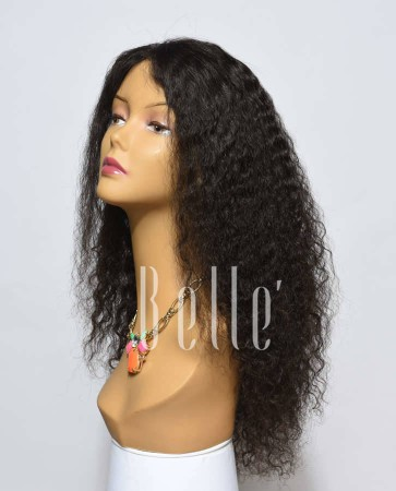 Spanish Wave Mongolian Virgin Hair Lace Front Wig Free Parting