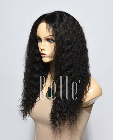 Spanish Wave Mongolian Virgin Hair Silk Top Lace Front Wig Free Parting