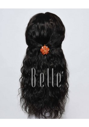100% First Grade Chinese Virgin Hair Lace Front Wig 25mm Curl Easy Apply