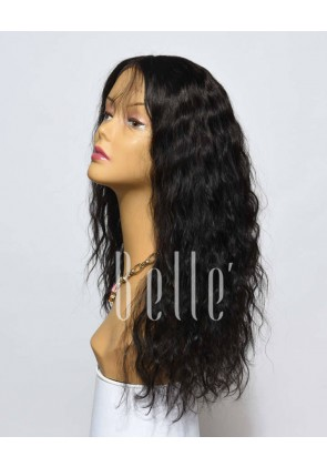100% Premium Mongolian Virgin Hair Silk Top Lace Front Wig 25mm Curl
