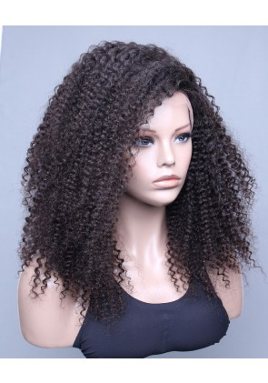 100% High Quality Human Hair Brazilian Virgin Hair Lace Front Wig Kinky Curl