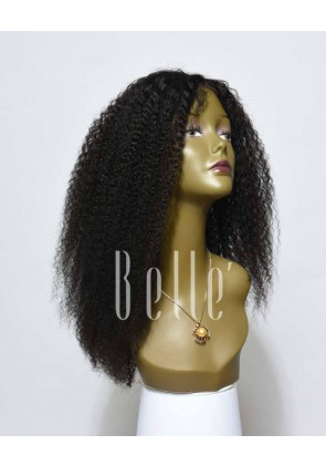 High Quality African American Wig Mongolian Virgin Hair Silk Top Lace Front Wig Afro Curl