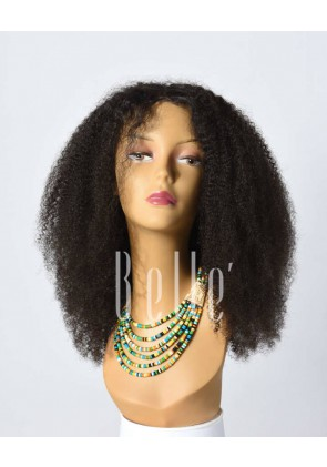 Afro Curl High Quality African American Wig Chinese Virgin Hair Silk Top Lace Front Wig