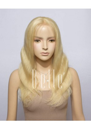 Body Wave #613 Bleached Blonde Color Healthy Chinese Virgin Hair 100% Hand-tied Full Lace Wig