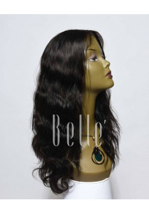 "Body Wave 100% Premium Peruvian Virgin Hair Lace Front Wig With 4""x4"" Silk Base Closure"