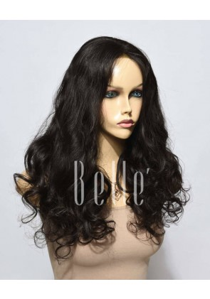 European Curly 100% Premium Human Hair Silk Top Lace Front Wig Malaysian Virgin Hair