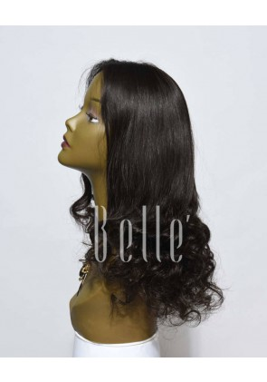 Half Spiral Curl Most Natural looking Silk Top Lace Front Wig Peruvian Virgin Hair
