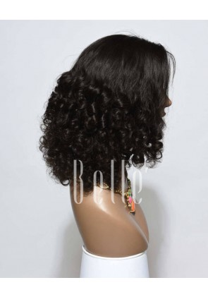 Best Mongolian Virgin Hair Half Tight Spiral Curl Silk Top Full Lace Wig