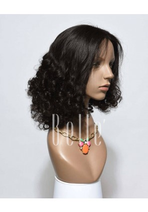 Best Peruvian Virgin Hair Half Tight Spiral Curl Lace Front Wig With Baby Hair