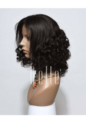 Premium Malaysian Virgin Hair Half Tight Spiral Curl Silk Top Full Lace Wig