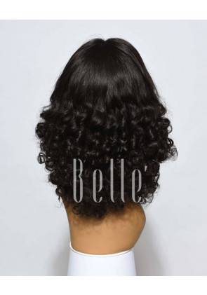 Best Mongolian Virgin Hair Half Tight Spiral Curl Full Lace Wig