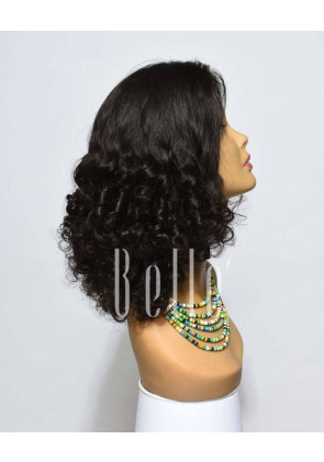 Best Brazilian Virgin Hair Half Tight Spiral Curl Lace Front Wig Hot-selling