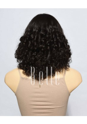 Best Mongolian Virgin Hair Half Tight Spiral Curl Silk Top Lace Front Wig