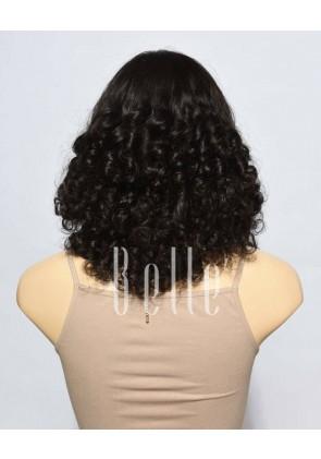 Best Mongolian Virgin Hair Half Tight Spiral Curl Silk Top Lace Front Wig