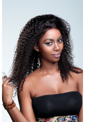 Most Popular Kinky Curl 100% High Quality Human Hair Brazilian Virgin Hair Full Lace Wig