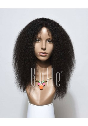 100% Real Human Hair Indian Virgin Hair Afro Lace Front Wig Jeri Curl