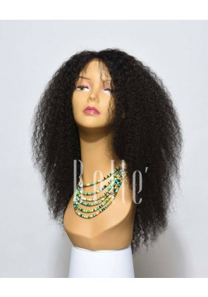 100% Real Human Hair Mongolian Virgin Hair Afro Silk Top Lace Front Wig Jeri Curl