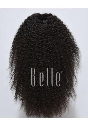 100% High Quality Brazilian Virgin Hair Silk Top Lace Front Wig Kinky Curl