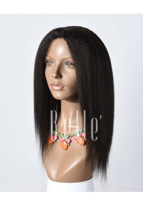 African American Kinky Straight Best Mongolian Virgin Hair Lace Front Wig