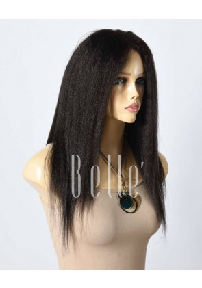 Kinky Straight Specially For African American Girls Peruvian Virgin Hair Silk Top Lace Front Wig