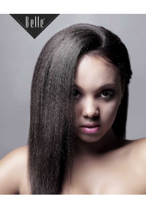 African American Women Favourite Hairstyle Kinky Straight Peruvian Virgin Hair Silk Top Full Lace Wig