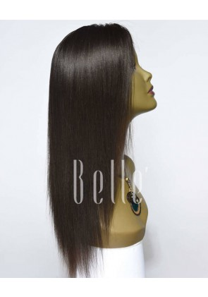 Most Popular Hairstyle Light Yaki 100% Premium Malaysian Virgin Hair Silk Top Lace Front Wig