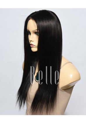 Light Yaki 100% Premium Malaysian Virgin Hair Lace Front Wig Natural Color