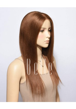 #30 Brown Color Light Yaki 100% Premium Chinese Virgin Hair Full Lace Wig
