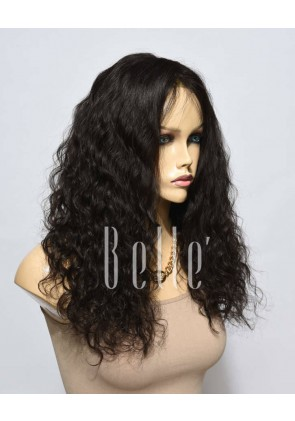 Natural Curl Top-quality Indian Remy Hair Swiss Silk Top Lace Front Wig