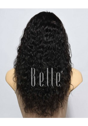Natural Curl Top-quality Mongolian Virgin Hair Swiss Silk Top Lace Front Wig