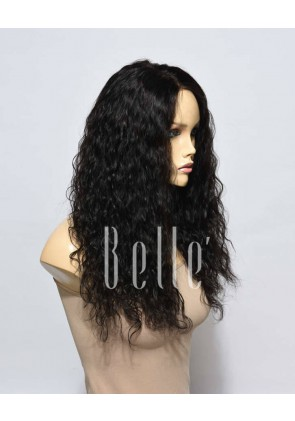 Natural Curl Top-quality Indian Virgin Hair Swiss Silk Top Lace Front Wig